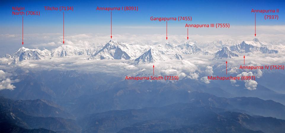 Вершины горного массива Аннапурна