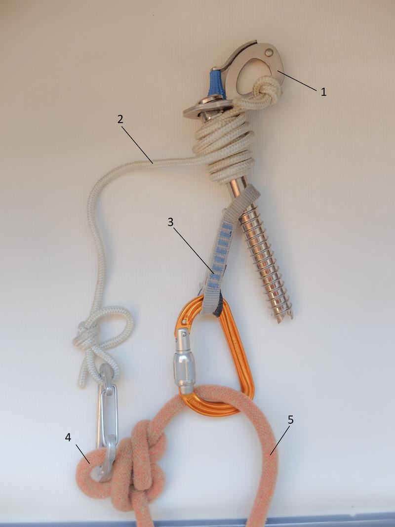 Вариант схемы организации самосброса с одной верёвкой