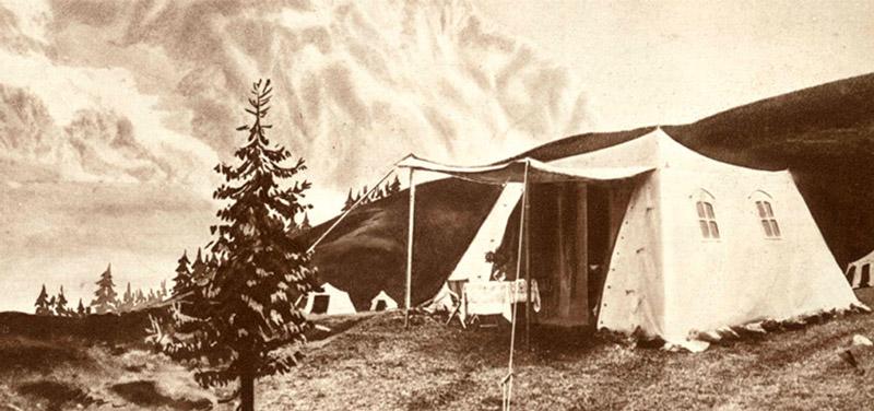 В 1910 году стартует первое серийное производство Ferrino — палатки Cervino.