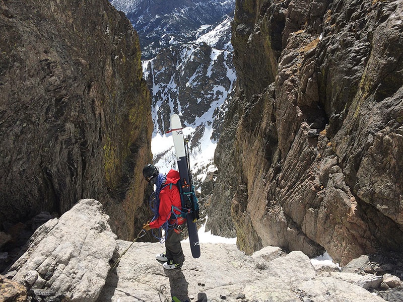 Sam Shaheen in the Scarpa Maestrale RS, Rocky Mountain National Park, CO.