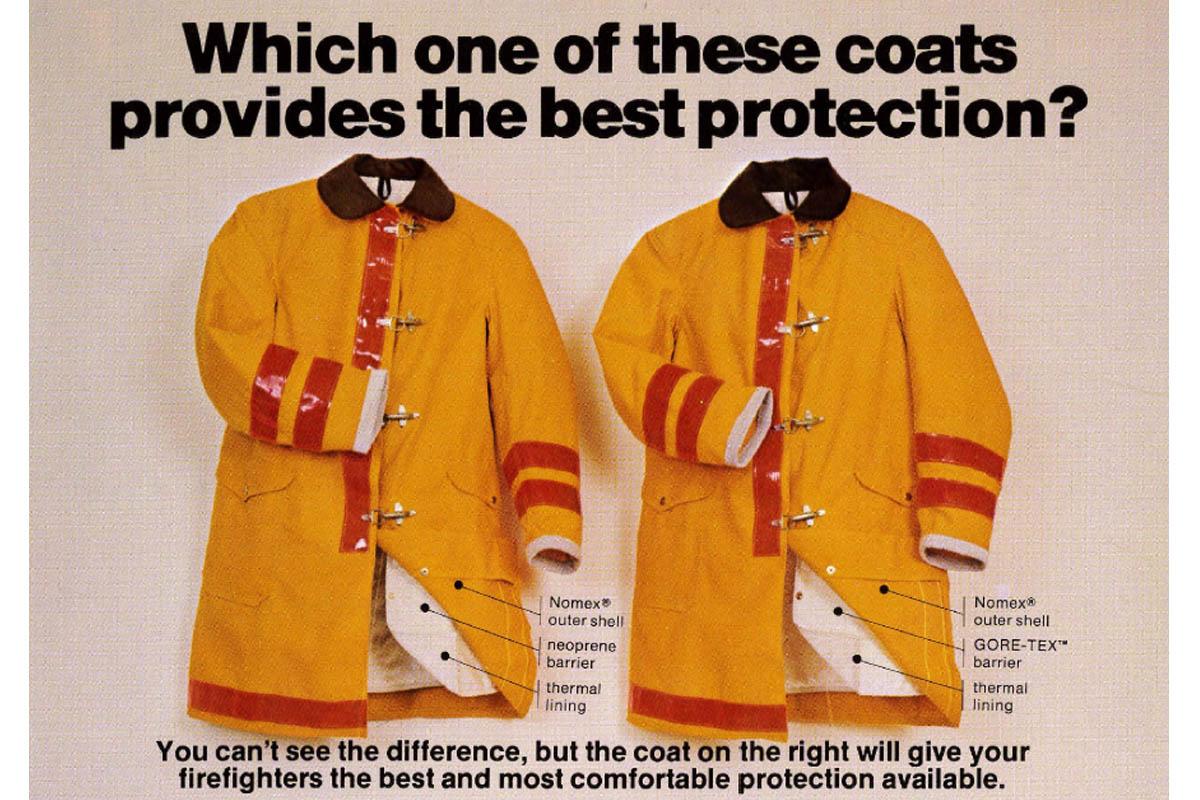 Alpindustria.ru: История изобретения мембраны Gore-Tex. Реклама первой защитной одежды для пожарных с мембраной Gore-Tex