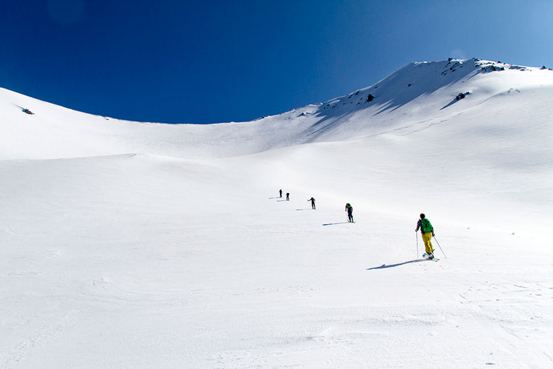 Jonathan Ellsworth, Paul Forward, and friends on the Marker Kingpin and G3 ION, Porters backcountry, NZ