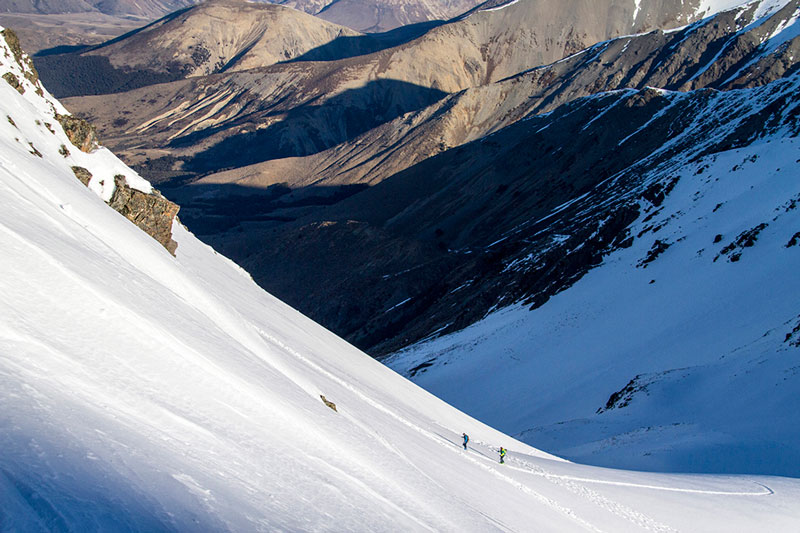 Jonathan Ellsworth and Paul Forward on the Marker Kingpin and G3 ION, MT Cheeseman backcountry, NZ