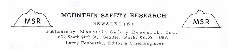 По-прежнему очарованный высокими горными пиками, окружавшими его в Holden Village, Пенберти набросал очертания вершин Бонанзы на титульной странице дебютного информационного письма от Mountain Safety Research.