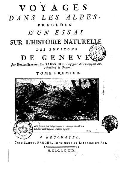 Tome 1 de Voyages dans les Alpes par Horace-Bénédict de Saussure