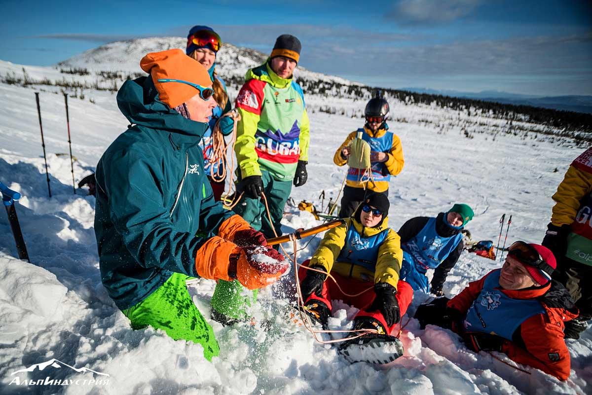 Альпкурс для фрирайдера - Виктор Афанасьев с курсантами Горной школы АльпИндустрия в Шерегеше