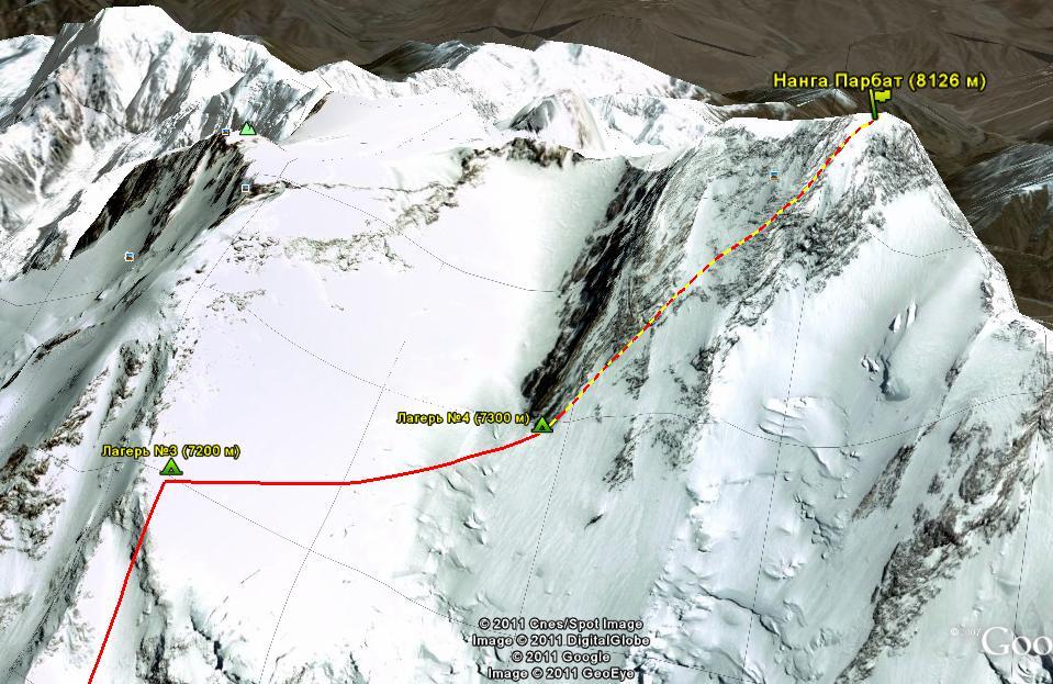 Схема маршрута от лагеря 3 до вершины.