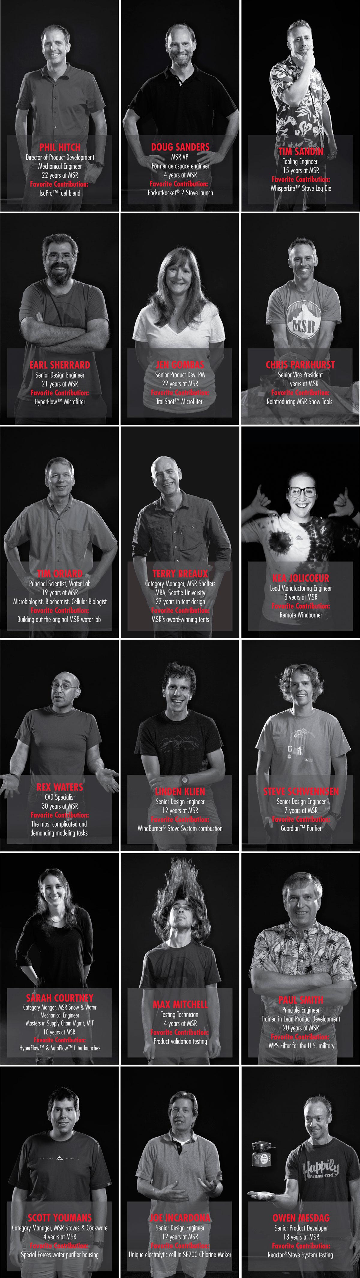 Ниже мы публикуем портреты людей, которые стояли за инновациями компании MSR в прошлом, стоят в настоящем и за кем будущее индустрии туристического снаряжения.