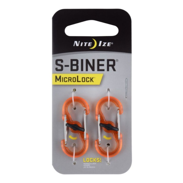 Карабин Nite Ize Nite Ize S-Biner Microlock 2 шт. оранжевый nite ize s biner slidelock lsba4 19 r6 orange