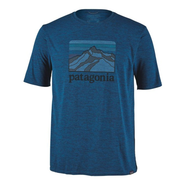Футболка Patagonia Patagonia Capilene Cool Daily Graphic Shirt turndown collar color block panel stripe graphic shirt