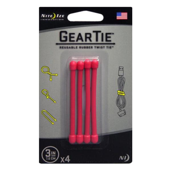 Стяжки гибкие Nite Ize Nite Ize Gear Tie набор 3 4шт красный 3