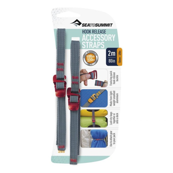 Стропа SEATOSUMMIT Seatosummit Accessory Strap With Hook Buckle 10mm Webbing - 2m красный 2м