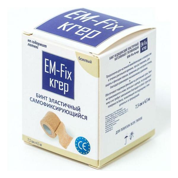 Купить Бинт медицинский эластичный когезивный стягивающий EM-fix krep 7,5см х 4,5 м