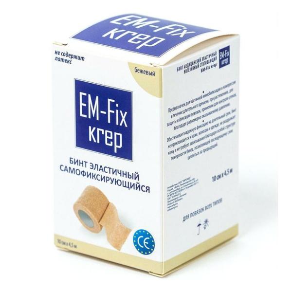 Купить Бинт медицинский эластичный когезивный стягивающий EM-fix krep 10см х 4,5м