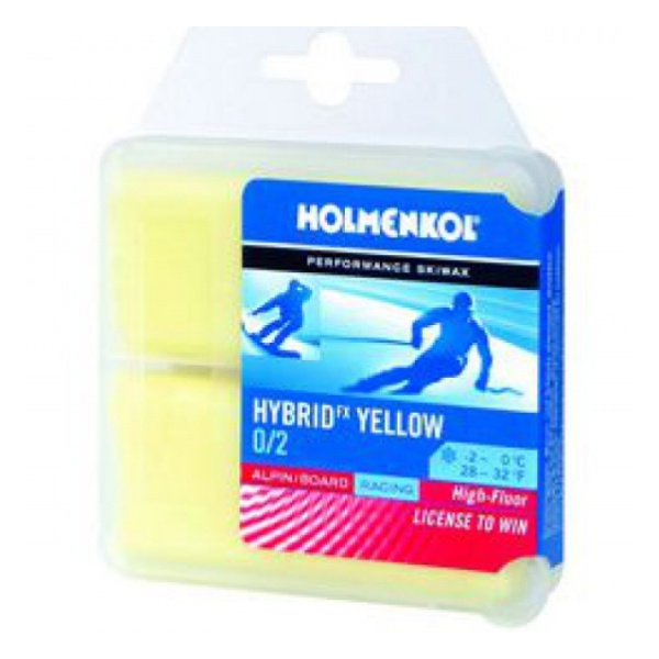 Мазь твердая HOLMENKOL Hybrid 2шт.х35г (0/+2) желтый